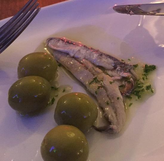 Manzanilla Olives and Boquerones which were anchovies